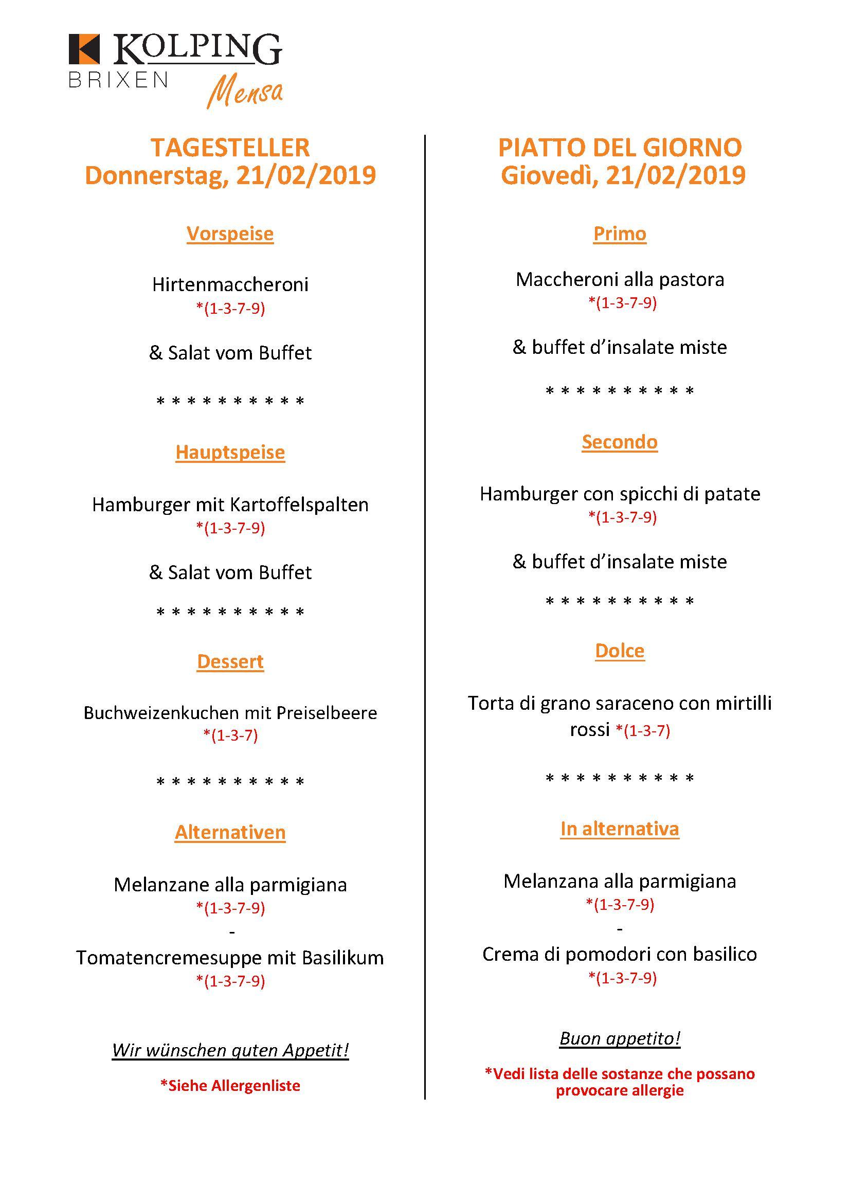 Daily menu
